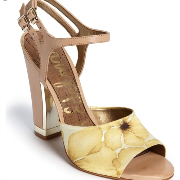a23ba5dcb0447 Sam Edelman Shoes | Odetta Gold Nude Strappy Heels 65m | Poshmark